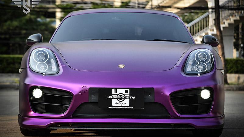 保时捷水晶紫罗兰车身改色贴膜